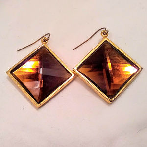 Gilt Groupe Topaz and Gold Colored Drop Earrings